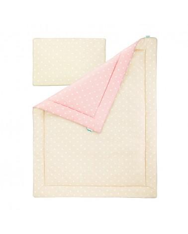 Ágynemű szettek LC ágynemű szett 100 x 135 cm bézs - rózsaszín pöttyös kollekció