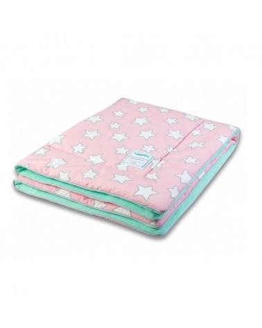 LC gyapjú takaró 80x100 cm rózsaszín - menta csillagos kollekció