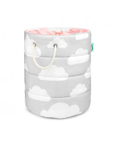 LC játékkosár 50 x 45 cm szürke - rózsaszín - felhős kollekció