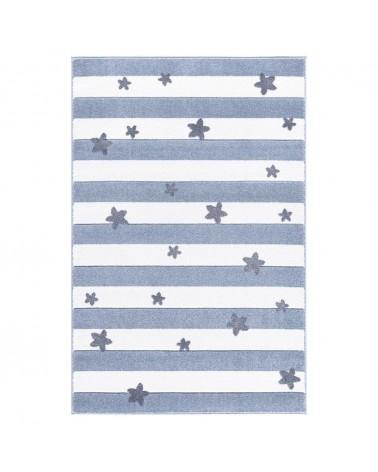 Gyerekszoba Szőnyegek LE Csillagok és Csíkok kék - fehér színben - minőségi gyerekszőnyeg
