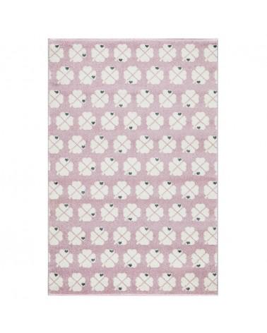 Gyerekszoba Szőnyegek LE Szerencséthozó lóherék - rózsaszín - fehér színben - minőségi gyerekszőnyeg