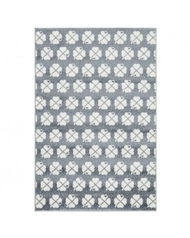 Gyerekszoba Szőnyegek LE Szerencséthozó lóherés -ezüstszürke - fehér színben - minőségi gyerekszőnyeg