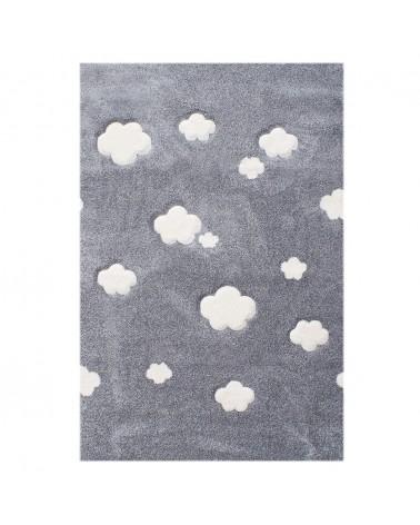 Gyerekszoba Szőnyegek LE Felhők Ezüstszürke - Krém Színben - Minőségi Gyerekszőnyeg