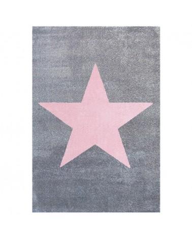 LE Csillag Ezüstszürke - Rózsaszín Színben - Minőségi Gyerekszőnyeg