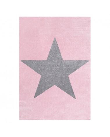 Gyerekszoba Szőnyegek LE Csillag Rózsaszín - Ezüstszürke Színben - Minőségi Gyerekszőnyeg