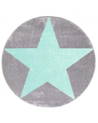LE Csillagos Kör Szőnyeg Ezüstszürke - Menta Színben - Minőségi Gyerekszőnyeg