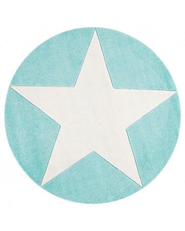LE Csillagos Kör Szőnyeg Menta - Fehér Színben - Minőségi Gyerekszőnyeg