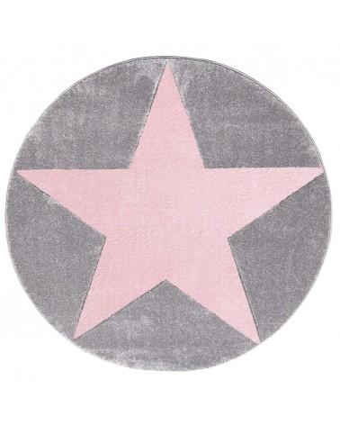 Gyerekszoba Szőnyegek LE Csillagos Kör Szőnyeg Ezüstszürke - Rózsaszín Színben - Minőségi Gyerekszőnyeg