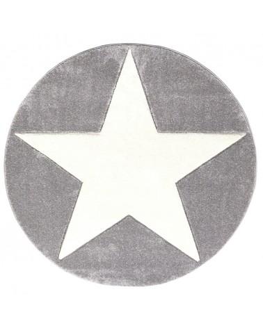 Gyerekszoba Szőnyegek LE Csillagos Kör Szőnyeg Ezüstszürke - Fehér Színben - Minőségi Gyerekszőnyeg