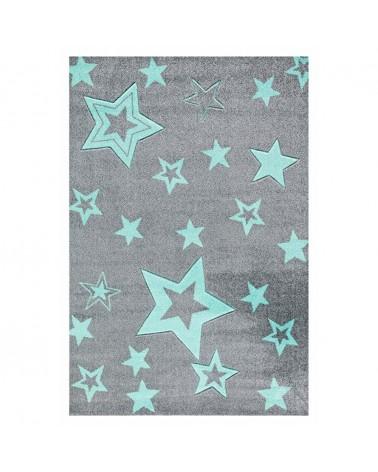 Gyerekszoba Szőnyegek LE Csillagok fénye Ezüstszürke - Menta színben - minőségi gyerekszőnyeg