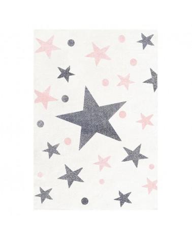 Gyerekszoba Szőnyegek LE Csillagok III. Krém-Szürke-Rózsaszín Színben - Minőségi Gyerekszőnyeg