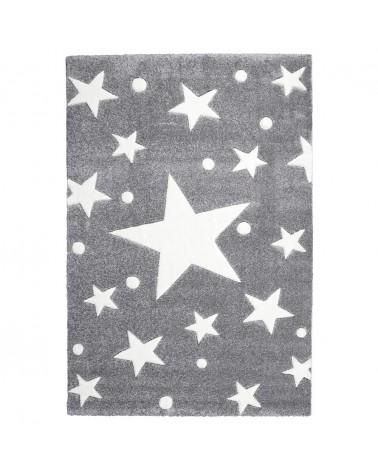 LE Csillagos Szőnyeg Ezüstszürke - Fehér Színben - Minőségi Gyerekszőnyeg