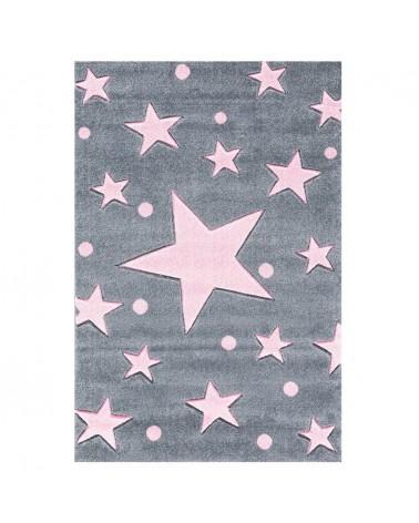 Gyerekszoba Szőnyegek LE Csillagos Szőnyeg Ezüstszürke - Rózsaszín Színben - Minőségi Gyerekszőnyeg