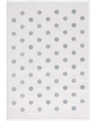 LE Confetti, krém/pasztellkék - ezüst - szürke pöttyös gyerekszőnyeg