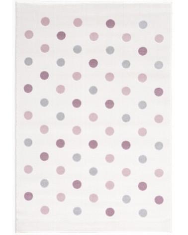 Gyerekszoba Szőnyegek LE Confetti, kérm/rózsaszín - ezüst - szürke pöttyös gyerekszőnyeg