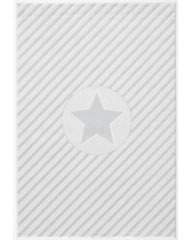 LE Decostar, csillagos ezüstszürke - fehér színű gyerekszőnyeg