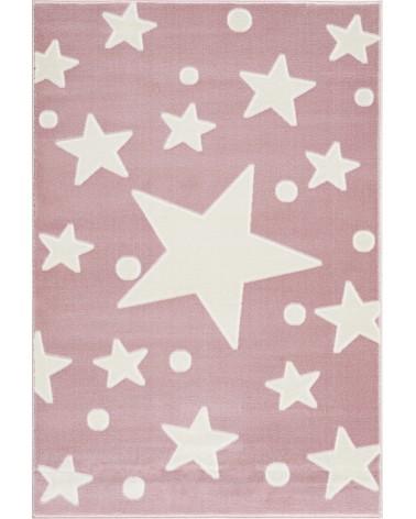 Gyerekszoba Szőnyegek LE Estrella csillagos, rózsaszín - fehér színű gyerekszőnyeg