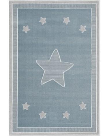 Gyerekszoba Szőnyegek LE Princess csillagos, kék - ezüstszürke színű gyerekszőnyeg