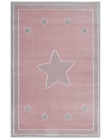 Gyerekszoba Szőnyegek LE Princess csillagos, rózsaszín - ezüstszürke színű gyerekszőnyeg
