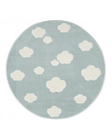 LE Skycloud felhős, menta - fehér színű kör gyerekszőnyeg
