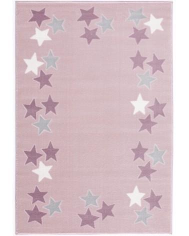 Gyerekszoba Szőnyegek LE Spring csillagos, rózsaszín - ezüstszürke színű gyerekszőnyeg