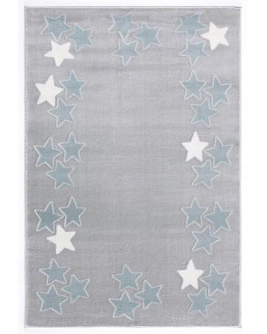Gyerekszoba Szőnyegek LE Spring csillagos, ezüstszürke - kék színű gyerekszőnyeg
