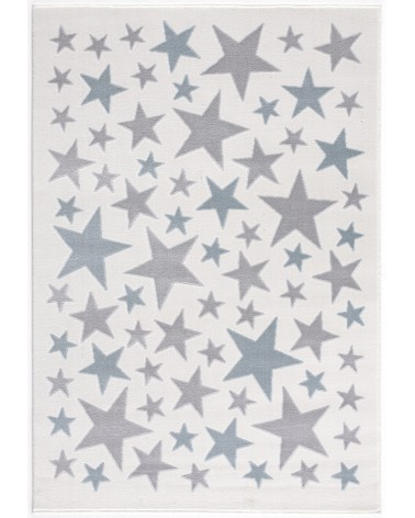Gyerekszoba Szőnyegek LE Stella csillagos, krém - ezüstszürke - kék színű gyerekszőnyeg