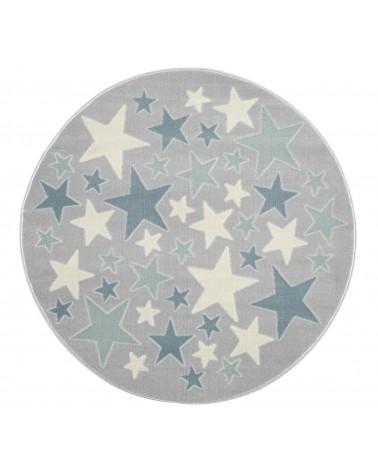 Gyerekszoba Szőnyegek LE Stella csillagos, ezüstszürke - krém - kék színű kör gyerekszőnyeg